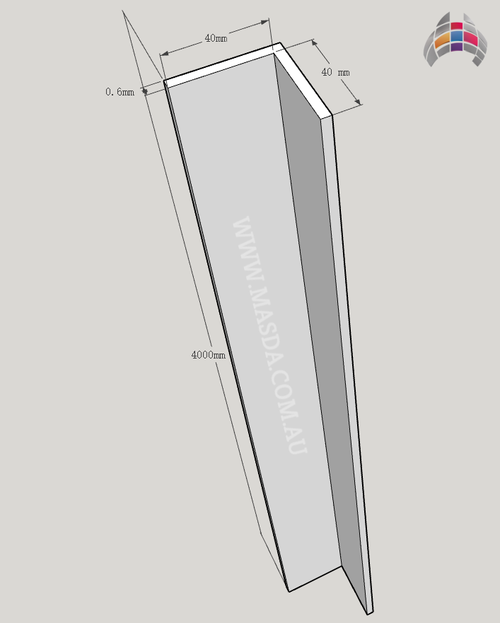 Steel Angle 4000mm x 40mm x 40mm Masda
